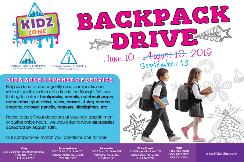 2019 Kidz Zone Backpack Drive